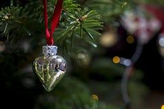Jul smyckar en silverhjärta som räcker på julträd Royaltyfri Fotografi