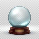 Jul Snowglobe Tom boll för Crystal exponeringsglas Isolerad modell för vektor för boll för snö för magixmas-ferie stock illustrationer