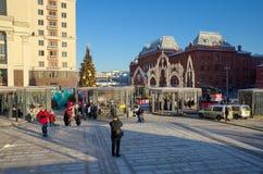 Jul som är ganska i den centrala Moskva, Ryssland Arkivbilder