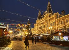 Jul som är ganska på den röda fyrkanten på aftonen, Moskva Arkivbild