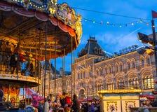 Jul som är ganska på den röda fyrkanten i Moskva, Ryssland Arkivfoton