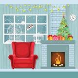 Jul som är inre i plan stil, dekorerar rum med en spis stock illustrationer