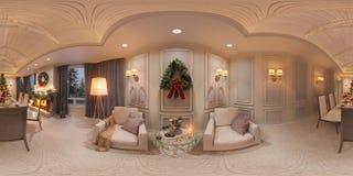 Jul som är inre med en spis illustration 3d av en inredesign i en klassisk stil Sömlös panorama 360 Royaltyfria Foton