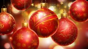 Jul som är röd,/abstrakt bakgrund för guling med stora dekorerade röda bollar på förgrunden. Arkivbilder