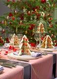 jul som äter middag tabellen Arkivfoto