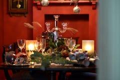 Jul som äter middag tabellen Royaltyfri Foto