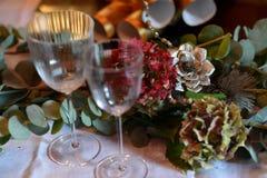 Jul som äter middag tabellen Royaltyfria Bilder