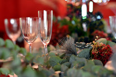 Jul som äter middag tabellen Arkivbilder