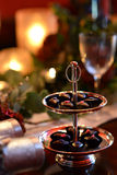 Jul som äter middag tabellen Arkivfoton