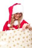 jul som öppnar aktuellt kvinnaxmas-barn arkivbilder
