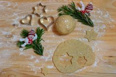 Jul som bakar bakgrund Ingredienser för att laga mat jul b royaltyfria foton