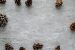 Jul som bakgrund med sörjer kotten på, grånar den konkreta tabellen Bästa sikt, lekmanna- lägenhet Copyspace Arkivbild