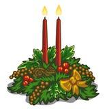 Jul som bränner röda stearinljus dekorerade med järnek royaltyfri illustrationer
