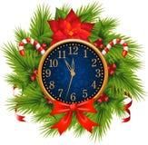 jul som dekoreras för watchkran för helgdagsafton nytt s år stock illustrationer