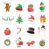 Jul som för vinterferie för det nya året Xmas isolerade symboler, ställde in illustrationen för tecknad filmdesignvektorn Royaltyfria Bilder