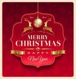 Jul som greeting den dekorativa etiketten royaltyfri illustrationer