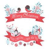 Jul som hälsar baner med dekorativ vinter  Royaltyfri Fotografi
