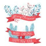 Jul som hälsar baner med dekorativ vinter  Royaltyfria Bilder