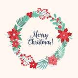 Jul som hälsar inre feriekrans- eller cirkulärgirlander som göras av flätade samman säsongsbetonade blommor, filialer, bär vektor illustrationer