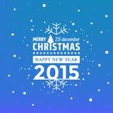 Jul som hälsar med fallande snöflingor stock illustrationer