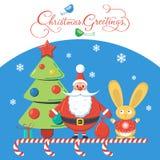 Jul som hälsar med jultomten, julträdet och kanin på blå bakgrund designvektorillustration Royaltyfri Bild
