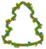 Jul som hälsar ramen på i dekorerad formgran, klumpa ihop sig Arkivbild