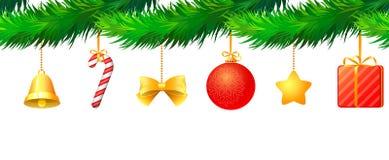 jul som hänger prydnadar vektor illustrationer