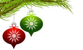 jul som hänger retro prydnadar Royaltyfri Fotografi