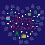 jul som jag älskar Vektorillustration med gåvor royaltyfri illustrationer