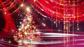 Jul som kretsar bakgrund som är röd med det röda granträdet stock video