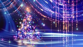 Jul som kretsar bakgrundsblått med granträdet arkivfilmer