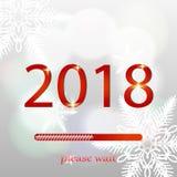 Jul som laddar stången Bakgrund med snö och snöflingor illustration för nytt år 2018 också vektor för coreldrawillustration Royaltyfria Foton