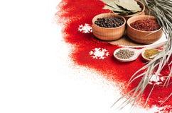 Jul som lagar mat - olika kryddor i träbunkar, snöflingor och torrt fattar som den dekorativa gränsen, closeupen Arkivbild