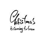 Jul som märker design jul som kommer till townen också vektor för coreldrawillustration Modernt torka borstebokstäver extra ferie royaltyfri illustrationer