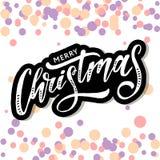 Jul som märker kalligrafiborsten för att smsa ferieklistermärkevattenfärgen vektor illustrationer