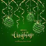 Jul som märker på grön stucken bakgrund med glänsande Bal stock illustrationer
