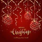 Jul som märker på röd stucken bakgrund med skinande bollar stock illustrationer