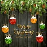 Jul som märker på svart träbakgrund med bollar och Sn stock illustrationer