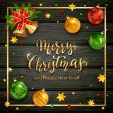 Jul som märker på svart träbakgrund med bollar och St stock illustrationer