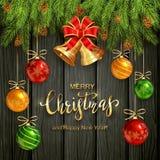 Jul som märker på svart träbakgrund med guld- Klockor royaltyfri illustrationer