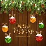 Jul som märker på träbakgrund med bollar och snö vektor illustrationer