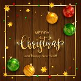 Jul som märker på träbakgrund med bollar och stjärnor royaltyfri illustrationer