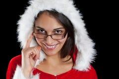 jul som poserar kvinnan Arkivfoto