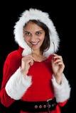 jul som poserar kvinnan Arkivfoton