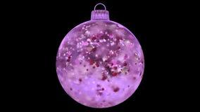 Jul som roterar den matte öglan för rosa för isexponeringsglasstruntsak för garnering röd alfabetisk för kronblad arkivfilmer