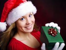 jul som rymmer den aktuella le kvinnan Arkivbild