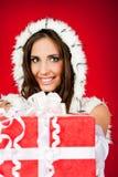 jul som rymmer den aktuella santa kvinnan Arkivbilder