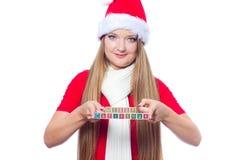 jul som rymmer den glada textkvinnan Royaltyfria Bilder