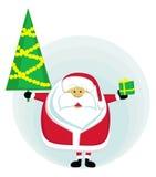 jul som rymmer den santa treen Arkivfoton