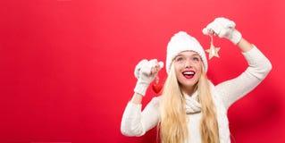 jul som rymmer prydnadkvinnan Arkivbild